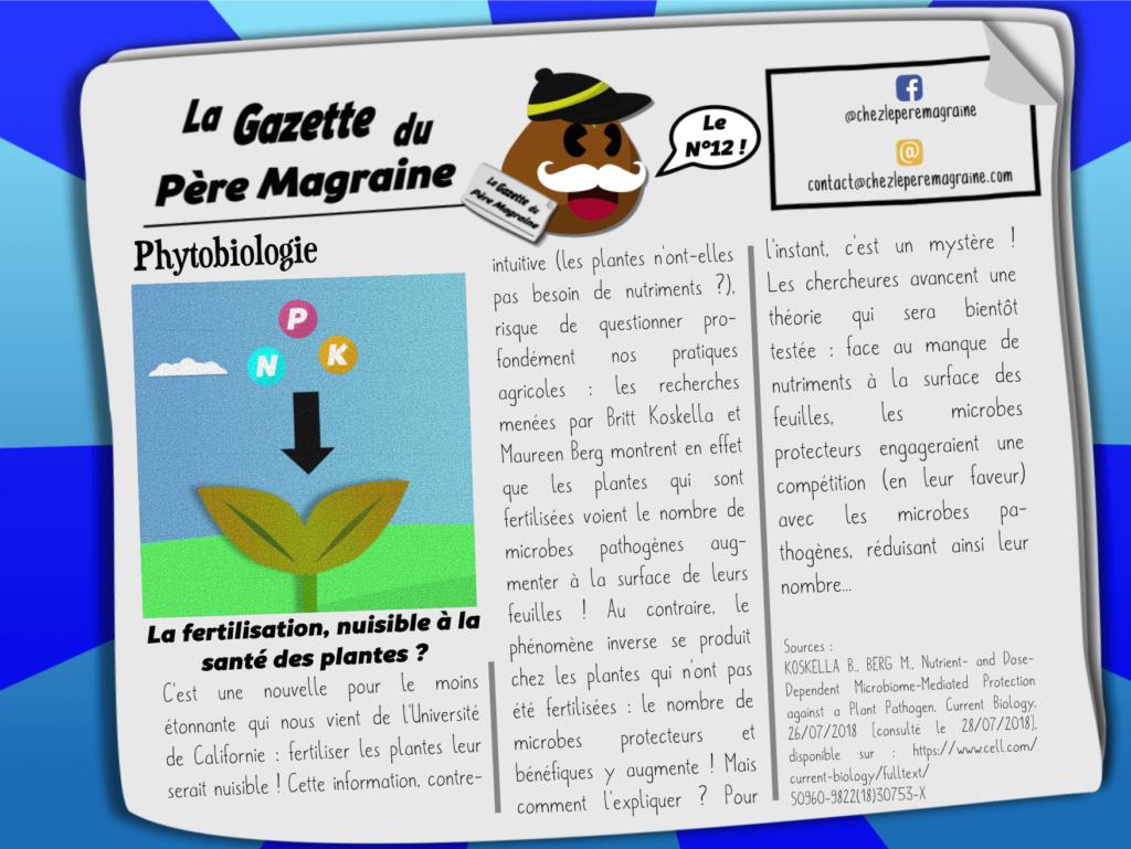 Gazette Père Magraine n°12 - La fertilisation, nuisible à la santé des plantes _