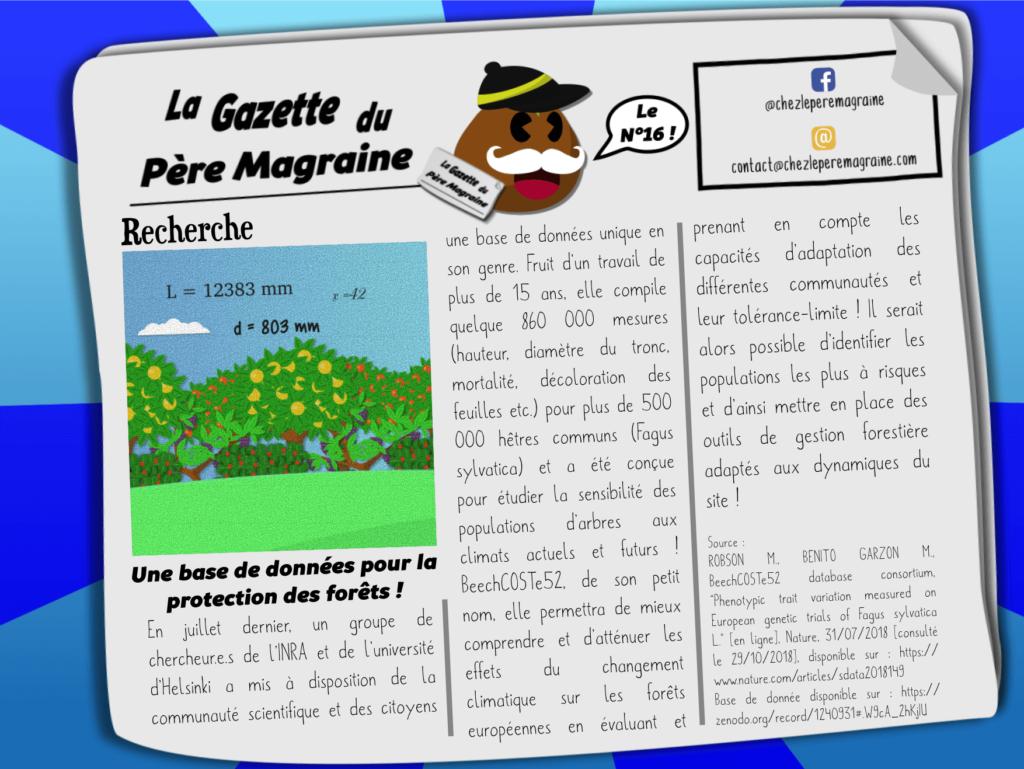 Gazette Père Magraine n°16 - Base de données protection forêt