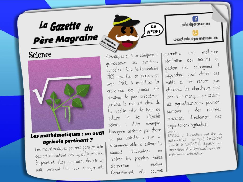 Gazette Père Magraine n°19 - Mathématiques outil agricole